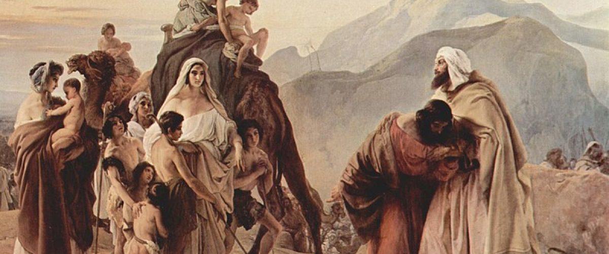 מאבק בין כוחות. המפגש בין יעקב ועשו (ציור מאת פרנצ'סקו אייץ, המאה ה-19)