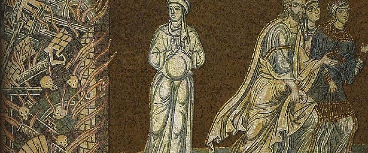 אשת לוט והנמלטים מסדום החרבה (ציור קיר בקתדרלת מונריאלה בסיציליה, המאה ה-12)