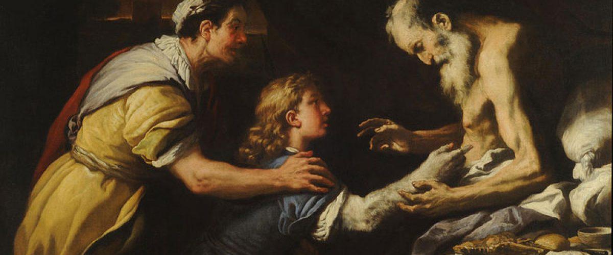 יעקב מקבל בהנחיית רבקה את הברכות מיצחק (ציור מאת לוקה ג'ורדנו, המאה ה-17)